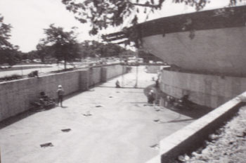 Early photo of church construction showing outside